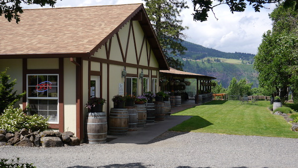 The tasting room and barrel room at Cathedral Ridge Winery in Hood River, Ore., offers visitors a view of Washington's Underwood Mountain.