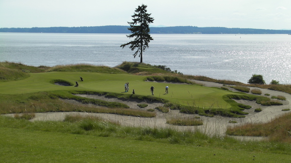No. 15, also known as Lone Fir, is the signature hole for Chambers Bay Golf Course, site of the 2015 U.S. Open Golf Championship in University Place, Wash. (Photo by Eric Degerman/Great Northwest Wine)