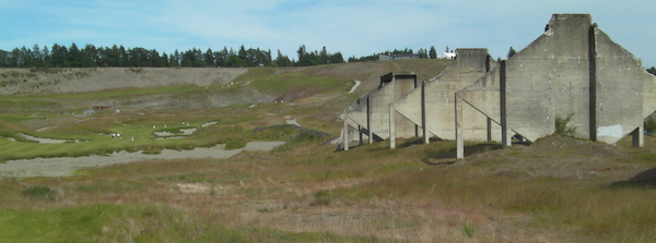 The Washington State Wine Commission tent along the 18th tee at the 2015 U.S. Open will be erected among the concrete columns that serve as a legacy of the cement plant at Chambers Bay in University Place, Wash.
