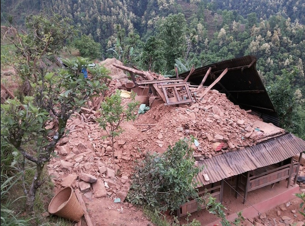 Namaraj Sapkota, a Nepal trekking guide for Cote Bonneville winemaker Kerry Shiels, returned to his village of Dhading and found his home reduced to rubble after the massive earthquake on April 25, 2015.