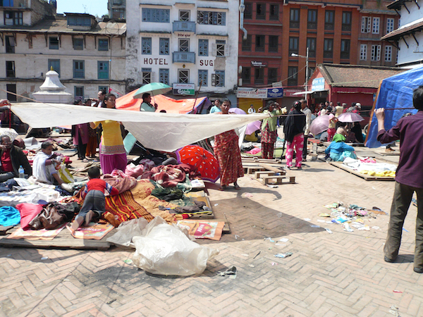 People set up tents for temporary shelter at Durbar Square in Kathmandu, 36 hours after the magnitude-7.8 earthquake that struck Nepal on April 25, killing more than 8,000 people and devastating villages.