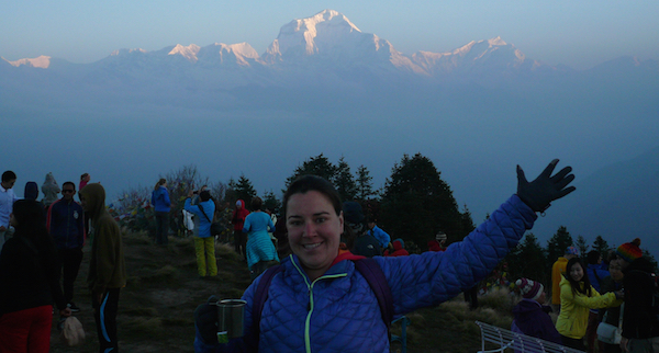 """Cote Bonneville winemaker Kerry Shiels celebrates sunrise over the Annapurna Range. """"This is in front of Dhaulagiri, which is 8,167 meters tall — the seventh-highest peak in the world. We climbed to the top of Poon Hill (3,210 meters) for sunrise over the Annapurna Range. It was a spectacular highlight of the trip, and they even have hot tea and coffee there!"""""""