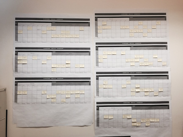 The Washington State Wine Commission has created a chart using sticky notes to develop a seven-day schedule to pour 140 of its top wines during the 2015 U.S. Open Golf Championship.