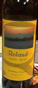 Roland Wines-Red Willow Vineyard Solstice Syrah-Yakima Valley-2012-Bottls