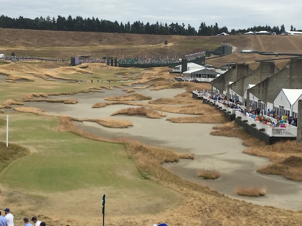 The Washington State Wine Commission tent at the 2015 U.S. Open is along the right side of the 18th fairway at Chambers Bay Golf Course in University Place, Wash. (Photo by Eric Degerman/Great Northwest Wine)