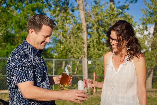 Coiled Wines winemaker/owner Leslie Preston and her husband, Ross Lamm, enjoy a glass of the Coiled 2014 Rizza, her new sparkling dry Riesling that already is winning gold medals.