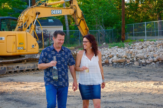 Coiled Wines winemaker/owner Leslie Preston and her husband, Ross Lamm, tour the Greenbelt construction site for Telaya Wine Company Co., which will also serve as the new home for Coiled Wines. (Photo by Dave Romero/Courtesy of Coiled Wines)