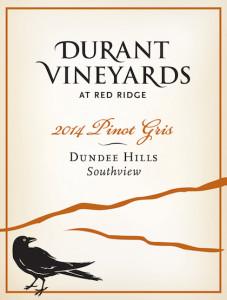 Durant Vineyards 2014 Southview Pinot Gris label