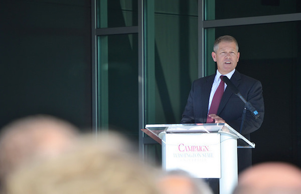 Steve Warner, president of the Washington State Wine Commission, delivers a speech during the opening ceremonies for the Ste. Michelle Wine Estates Wine Science Center in Richland, Wash.