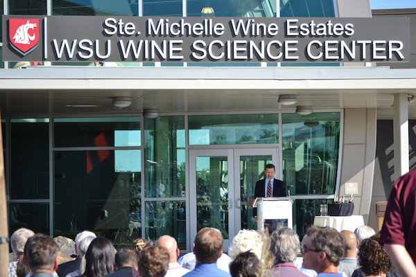 Ted Baseler, president of Ste. Michelle Wine Estates, delivers a speech during the opening ceremonies for the Ste. Michelle Wine Estates Wine Science Center in Richland, Wash.