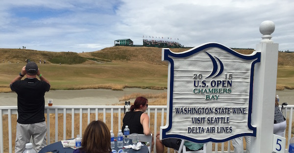 Guest of the Washington State Wine Commission can see action on No. 1 and No. 18 during U.S. Open week at Chambers Bay Golf Course in University Place, Wash.