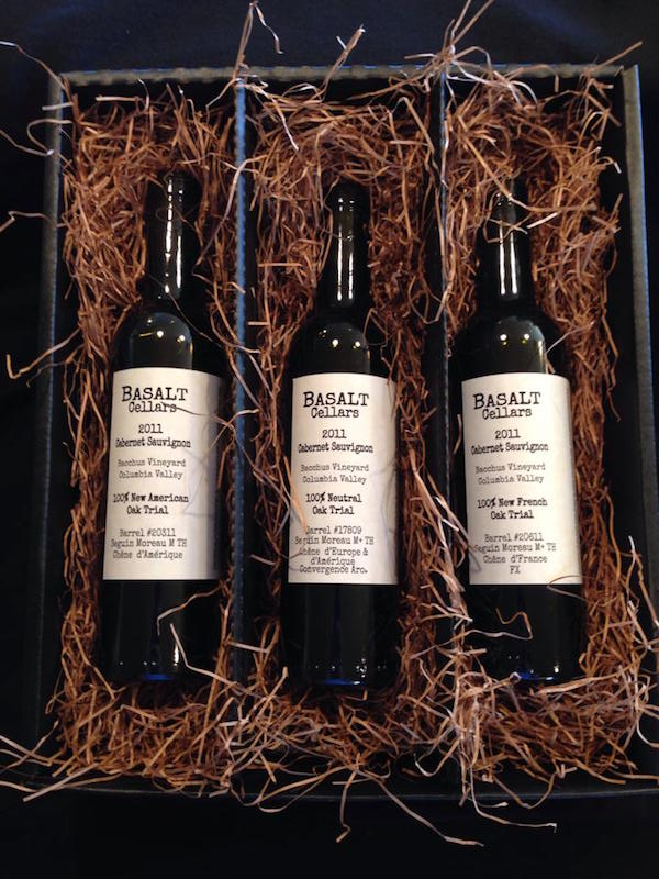 Basalt Cellars in Clarkston, Wash., offers a three-bottle set of its 2011 Bacchus Vineyard Oak Trial Trio Cabernet Sauvignon. (Photo courtesy of Basalt Cellars)