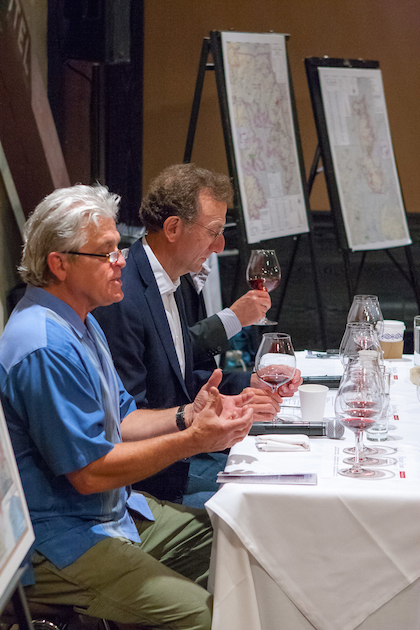 Founding winemaker Ken Wright, left, and Sam Bronfman, co-founder and managing partner of Bacchus Capital Management, lead a discussion of the past and future of Panther Creek Cellars on July 13, 2015 at Imperial in Portland.