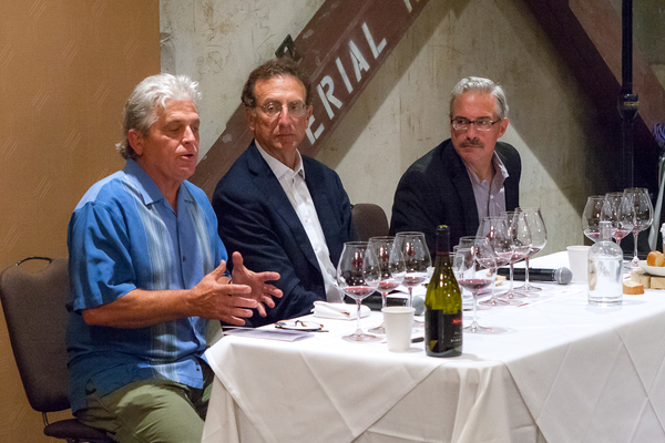 Panther Creek Cellars founder Ken Wright shares some history of the brand with Sam Bronfman, co-founder and managing partner of Bacchus Capital Management, and winemaker Tony Rynders in Portland at The Imperial Hotel. (Photo by Chris Bidelman/Courtesy of Bacchus Capital Management)