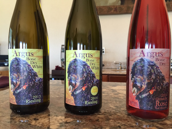 Tapteil Winery produces two styles of Riesling and a Grenache Rosé under their Argus label, which is named for their oldest standard poodle.