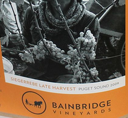 Bainbridge Vineyards-2009-Late Harvest Siegerrebe Label