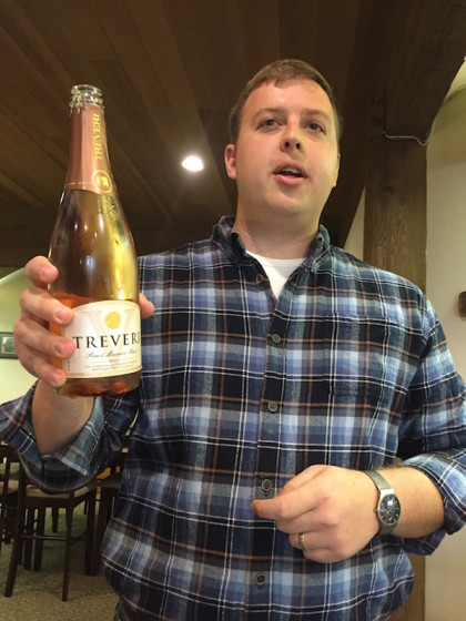 Christian Grieb of Treveri Cellars in Wapato, Wash., shares of bottle of his family's new release of sparkling Pinot Meunier.