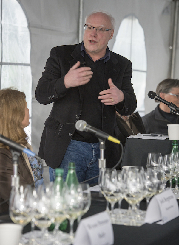Cole Danehower moderates the technical panel at third annual Oregon Chardonnay Symposium on March 14, 2014 at Stoller Family Estate in Dayton.
