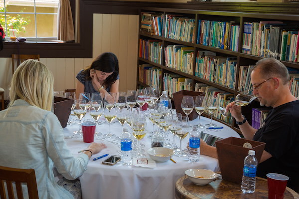 Erin James of Sip Northwest, Bay Area sommelier/writer Mary Orlin; and Doug Frost, a Master of Wine and a Master Sommelier, judge the 2015 Oregon Wine Experience competition in Jacksonville.