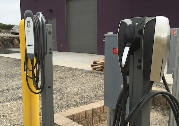 Hamilton Cellars now has a Tesla car charging station.