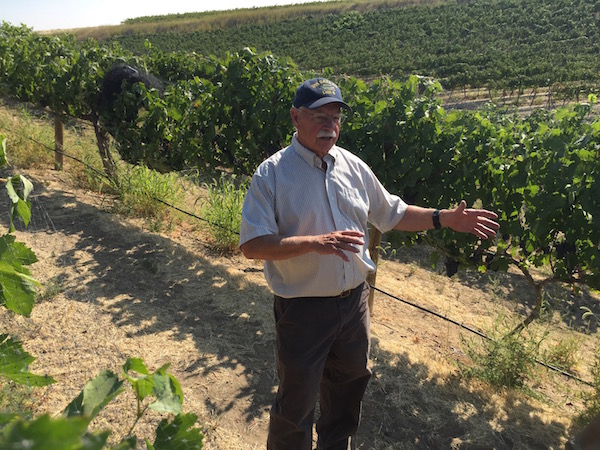 Cote Bonneville owner Hugh Shiels discusses growing practices at his family's DuBrul Vineyard in the Yakima Valley near Sunnyside, Wash.