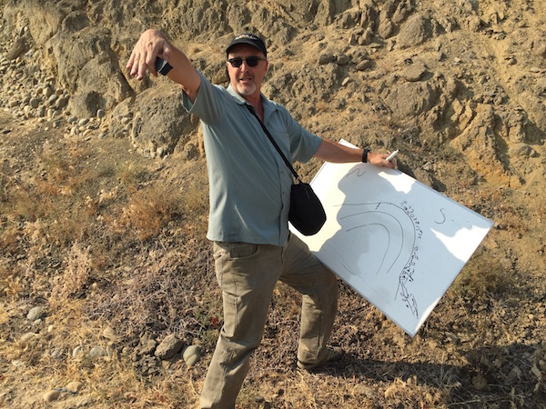 Kevin Pogue, geology professor at Whitman College, sketches and describes the formation of Snipes Mountain American Viticultural Area in the Yakima Valley.