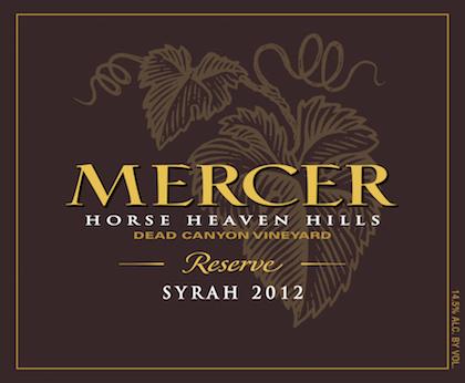 Mercer Estates 2012 Dead Canyon Vineyard Reserve Syrah label