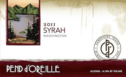 Pend d'Oreille 2011 Syrah label