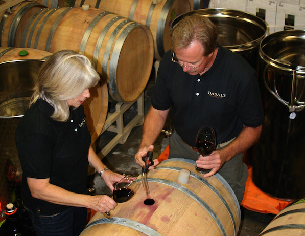 Rick Wasem and Lynn DeVlemming work on the wines for Basalt Cellars in Clarkston, Wash.
