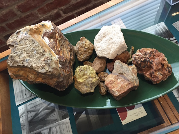 Some of the fascinating geology that's a part of the wines from McClellan Estate Vineyard is on display in the tasting room at Seven Hills Winery in downtown Walla Walla, Wash. (Photo by Eric Degerman)