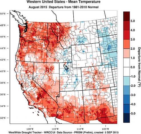 Average temperatures for August were 1-4°F above normal in California, Oregon, Washington and Idaho. This chart of the West Coast of the United States reflects the August 2015 temperature departure from normal. (Image from the WestWide Drought Tracker, Western Region Climate Center and University of Idaho/courtesy of Greg Jones)