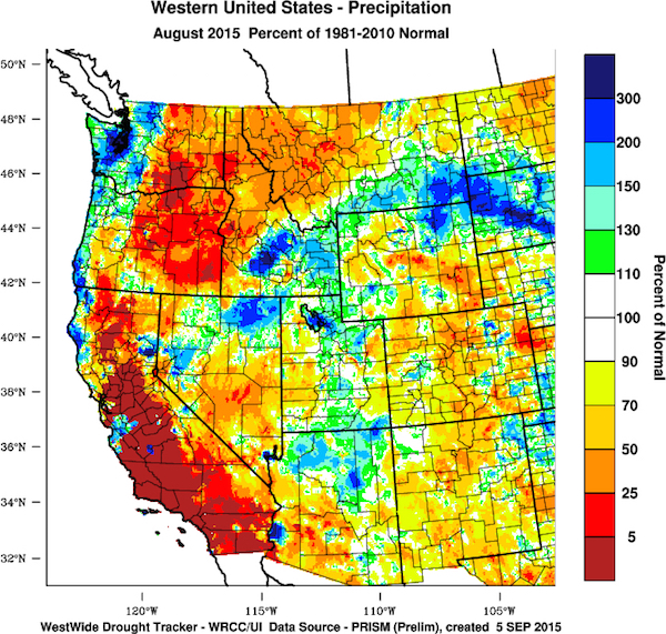 This chart of the West Coast of the United States reflects the August 2015 precipitation departure from normal. (Image from the WestWide Drought Tracker, Western Region Climate Center and University of Idaho/courtesy of Greg Jones)