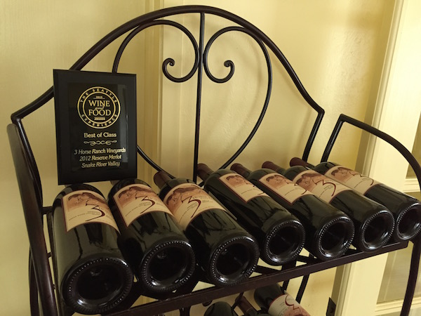 The 3 Horse Ranch Vineyards 2012 Reserve Merlot from the Snake River Valley won best of class at the 2015 Seattle Wine and Food Experience Wine Awards.