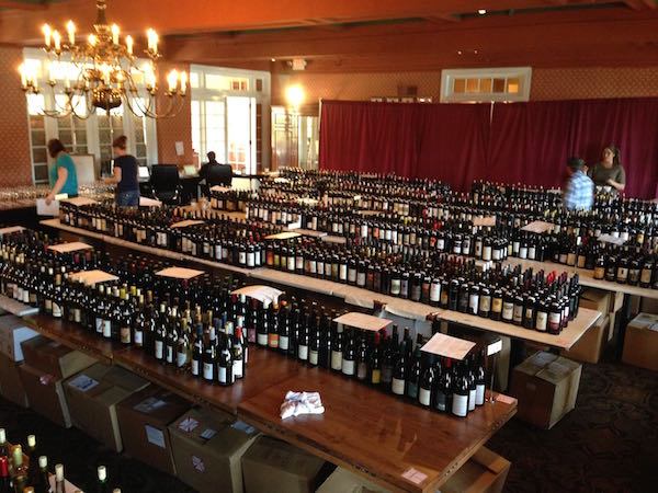 Backroom at the Great Northwest Invitational Wine Competition.