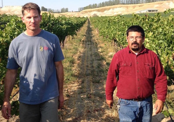 Greg Koenig and Martin Fujishin work together at Koenig Vineyards.