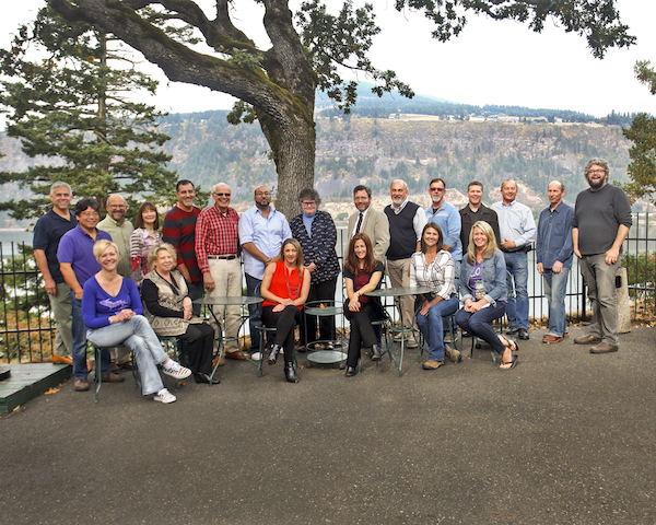 The third annual Great Northwest Invitational Wine Competition, staged Oct. 7-8, 2015, at the historic Columbia Gorge Hotel in Hood River, Ore., focused on entries nominated by 20 wine professionals. Seated judges are, left to right, April Reddout, Lane Hoss, Naomi Boutz, Amberleigh Brownson, Shelly Fitzgerald and Ilene Dudunake. Standing are Ken Landis, Mark Takagi, Doug Charles, Ellen Landis, Steven Sinkler, chief judge Ken Robertson, Yashar Shayan, Jean Yates, Chris Horn, David Holstrom, Paul Sinclair, Dave Smith, Daniel Carr, Tim O'Brien and Paul Zitarelli. (Photo by Sharon Beth/Sharon Beth Photography)