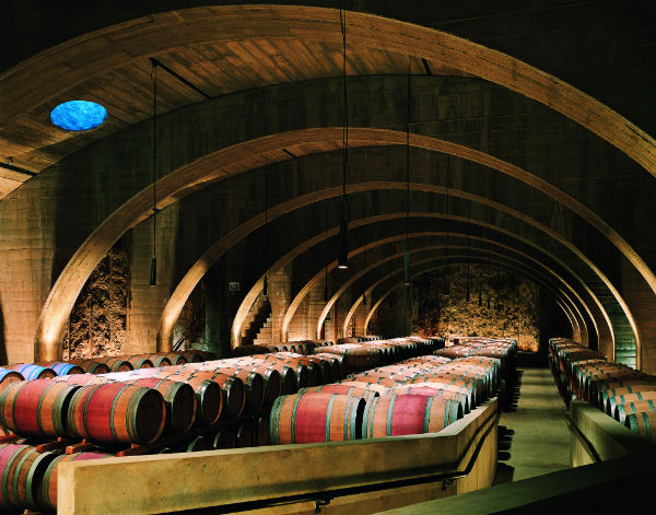 Mission Hill Family Estate's barrel room.