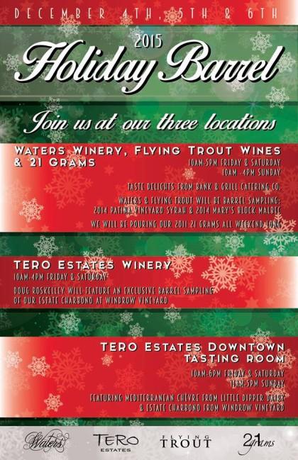 Waters Winery, Flying Trout Wines & 21 Grams Holiday weekend tastings