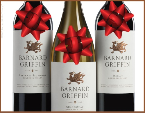 Barnard Griffin with Christmas bows