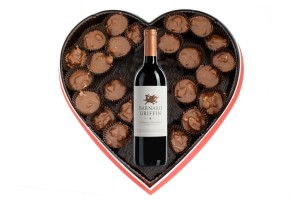 Heart shaped box of nuts chocolates. Perfect for Valentine's Day.
