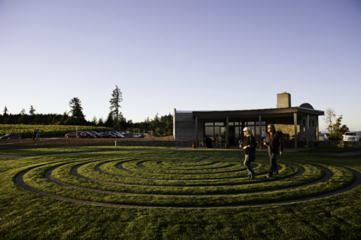 Fairsing Vineyard Guests Enjoy Wine and Labyrinth