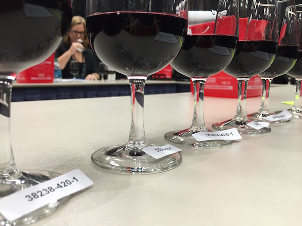 Amy Gross, CEO and co-founder Wine4.Me in Spring, Texas, judges a flight of Cabernet Sauvignon-based wines at the Houston Livestock and Rodeo International Wine Competition at NRG Center.