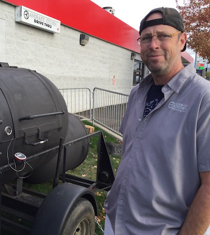 "Andrae Bopp recently moved his new ""Buehler"" wood-fired smoker to the Cenex Co-op at Rose and Ninth in Walla Walla, Wash."