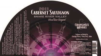 Crossings Winery 2011 Wood River Vineyard Cabernet Sauvignon label