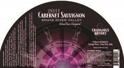 Crossings Winery 2011 Wood River Vineyard Cabernet Sauvignon label