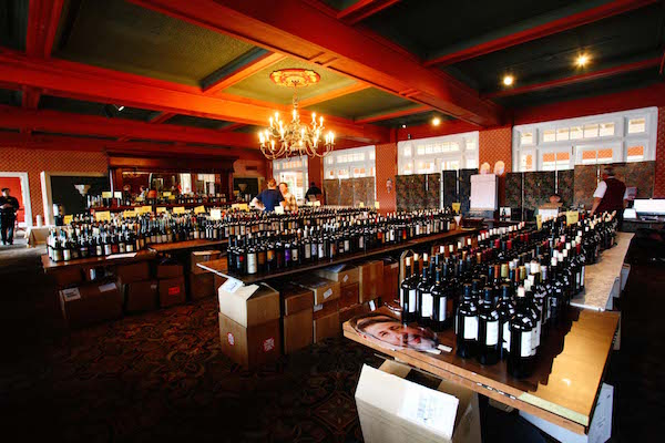 The backroom of the Great Northwest Invitational Wine Competition spotlights 561 entries on Oct. 7-8, 2015, at the historic Columbia Gorge Hotel in Hood River, Ore. (Photo by Sharon Beth Photography)