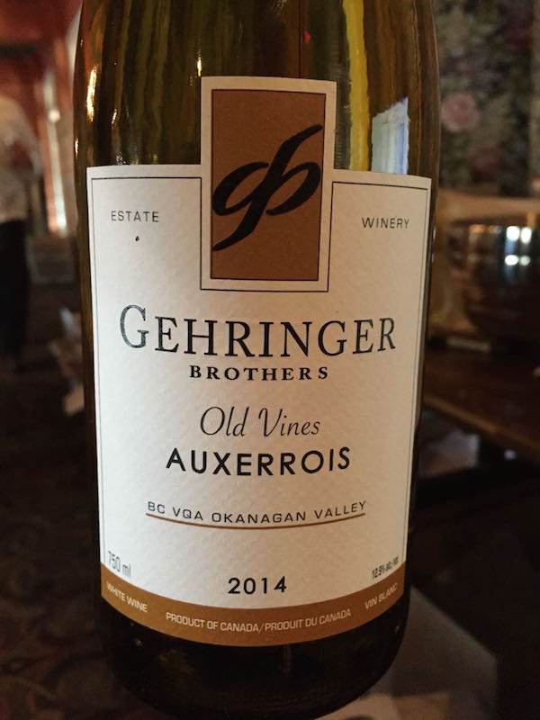 Gehringer Brothers Estate Winery 2014 Old Vines Auxerrois.