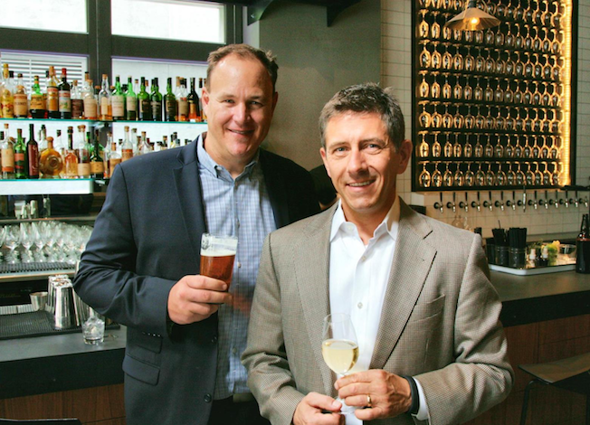 Marketing executive Steve Reed, left, and winery sales veteran Thomas Vogele founded DrinkSpace in 2014. Their boutique alcohol consulting business, with headquarters in Redmond, Wash., provides marketing, sales and logistics expertise for several Pacific Northwest wineries, cideries and distilleries. (Photo courtesy of DrinkSpace)