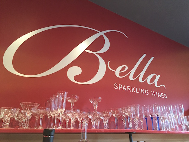 Bella Sparkling Wines in Naramata, British Columbia, allows visitors to the tasting room the option of which antique flute they would like to sample from.
