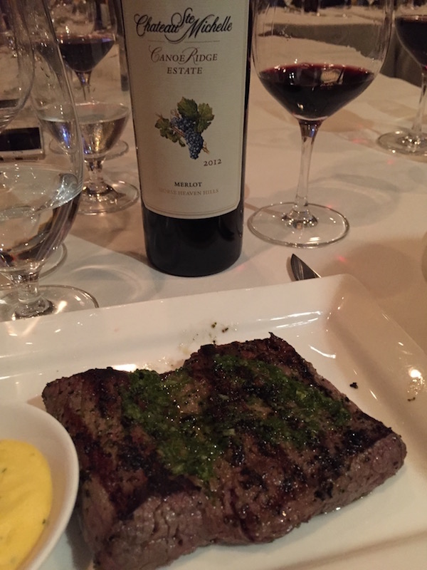 Churrascos in Houston serves a Chateau Ste. Michelle Canoe Ridge Estate Merlot with its beef tenderloin, chosen as one of the top 20 steaks in the country by Esquire magazin.